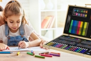 Encourage Creativity in Your Children w/ this 180-Piece Kids' Art Set! Incl. Oil Pastels, Felt Tip Pens, Paint & More. Encased in a Lovely Wooden Box