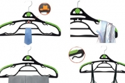 Save Room in Your Wardrobe w/ a Q Magic Hanger Set! Hang Tops, Pants, Skirts, Ties & More on One Hanger! Incl. 50 Hangers with 20 Stackers
