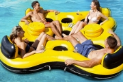 Relax in the Water w/ these Giant Raft Inflatables! Ft. Seats for 4 or 6 Ppl. Perfect for Pool Parties, A Day Out on the Lake or Camping Trips