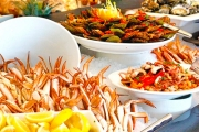 Tuck into an All-You-Can-Eat Seafood Buffet w/ Bottle of Wine for 2 at Baygarden Restaurant! Prawns, Sydney Rock Oysters, Atlantic Salmon & More