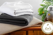 Snuggle Up with 100% Pure Egyptian Cotton Waffle Blankets! The Perfect Light, Soft & Luxurious Layer for Spring + Summer! Double, Queen & King Sizes