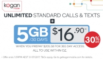 5GB + Unlimited Standard National Calls/Text for $16.90 Per 30 Days When You Prepay $205.58 for 365-Day Access. T&Cs Apply. Click for Details