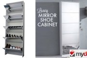 Kill Two Birds w/ One Stone w/ This Shoe Rack & Full Length Mirror! Easy to Assemble, Stores 15 Pairs of Shoes & Has a 12-Month Warranty. Plus P&H