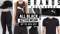 Sweat it Out in Style with Up to 45% Off All Black Activewear! Shop a Range of Footwear, Apparel & Accessories from Nike, Under Armour, Puma + More