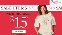 Don't Miss the Mega-Sale Online @ the Largest Women's Retailer Nationally! Nothing Over $15 Sale @ Millers Online! Shop Tops, Bottoms, Blouses & More