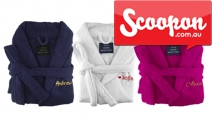 Gifting is Made Easy w/ a Personalised Egyptian Cotton Bathrobe from A & B Home Fashion! Unisex Robe, Choice of 2 Sizes & 6 Colours! From $49, Plus P&H