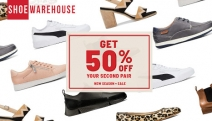 Treat the Whole Family's Feet without Breaking the Bank @ Shoe Warehouse! Buy One, Get 50% Off Your 2nd Pair - New Season & Sale! Plus P&H