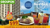 Dine Like a Rockstar with a 3-Course Meal + Bottle of Wine or Cocktail for 2 @ Hard Rock Cafe - Surfers Paradise! Think Fajitas, Rump Steak & More