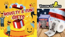 Need Gift Ideas that Brings Relief? Funny Novelty Toilet Paper from Yellow Octopus as a Gift is Rolled Gold. No More Wasted Moments w/ Crosswords & More