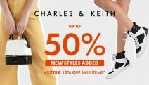CHARLES & KEITH Up to 50% Off SITEWIDE! Shop Extra 10% Off Sale Shoes, Bags & Accessories w/ Min. 2 Items Purchased + Extra 10% Off Full-Price Items