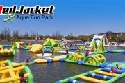 Escape the Heat w/ a Session at Red Jacket Aqua Fun Park, Inside Novotel Twin Waters Resort! Jump, Slide & Bounce on Inflatable Floating Obstacles