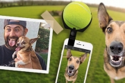 Say 'Cheese' w/ Your Furry Friend w/ this Pet Selfie Ball! Simply Attach the Ball to Your Smartphone to Direct Your Pet's Attention to the Camera