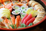 Keep Your Guests Well Fed w/ a 50 or 71-Piece Sushi Take Away Platter @ Eastern Sushi Bar! Incl. Salmon, Teriyaki Chicken & More