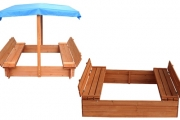 Spark Your Child's Creative Play w/ a Fun Wooden Sandpit! Feat. Seating Area & Treated Timber. Upgrade for UV Protection Canopy. Easy to Assemble