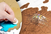 Track Your Fave Destinations & Create Your Own Personalised Map of the World w/ This Gold Foil Scratch-Off World Map! Incl. Travel Tube. Plus P&H
