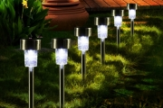 Illuminate Your Outdoor Area w/ this LED Solar Stainless Steel Garden Path Lights Set! Water-Resistant & Lights Up w/ Automatic Sensor. 16 & 32-Piece