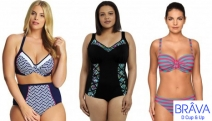 Ladies Flatter Your Figure in D-Cup & Over Underwire Swimwear that Really Supports You w/ the Brava Sale! Shop a Range of Bikini Tops, 1 Pieces & More