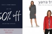 Sport Casual Chic w/ the Fashion Apparel & Accessories Sale at Yarra Trail! Shop Up to 50% Off the Stripe Knit Dress, Spot Jacquard Cardi & More