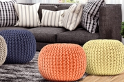 Put Your Feet Up & Relax with a Colourful Knitted Pouffe! Knitted-Rope Finish in a Rainbow of Shades to Suit Any Decor Scheme! Plus P&H
