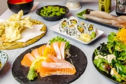 Say 'Hai' To an 8-Dish Japanese Dinner for 2 at Waza Japanese Dining! Think Salmon Sashimi, Grilled Squid, Agedashi Tofu & More! Upgrade for More Ppl