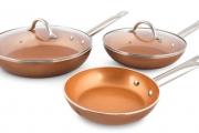 Ditch the Fats w/ the Innobella Ceramic Copper Pro Pan 5 Piece Set! Made from Non-Stick Ceramic Copper & Titanium so Food Slides Off Easily