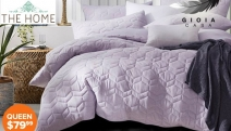Get Your Hands on the Gioia Casa Quilted Jersey Quilt Cover Sets! Ft. Range of Neutral Colours in Queen to Super King! Light Grey, Ash Blue & More