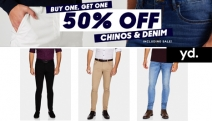 Gents, Update Your Essentials w/ Buy 1 & Get 1 50% Off Men's Chinos & Denim at yd. Smart Casual Styles for Work, Weekends & More. Incl. Sale Items