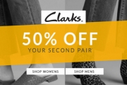 Keep Your Feet Double Happy All Day with 50% Off Your Second Pair of Shoes from Clarkes! Shop Men's & Women's - Slip Ons, Ankle Boots, Heels & More