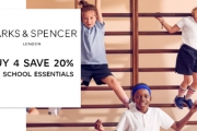 Get Your Kids School Ready with Marks & Spencer! Buy 4 Save 20% Across School Essentials Incl. Uniforms, Shoes, Tights and Socks + More