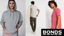 Gents Lounge Around this Winter in Laid-Back Layers from Bonds! Buy 2 & Get 30% Off! Ft. Crew Tees, Woven Pants, Long Sleeve Tees, Original Shorts & More