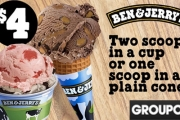 Scoop Up Something Exciting w/ Ben & Jerry's Range of Ice Cream Flavours in 12 Locations! 2 Scoops on a Cup or 1 Scoop on a Plain Cone for Just $4!