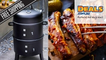 Add Smokey Flavour to Your Next Meal w/ a Charmate 3-in-1 Charcoal BBQ Smoker! Smoke & Grill Roasts, Steaks, Ribs, Seafood, Vegetables & More