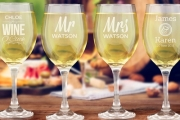 Customise Your Favourite Piece of Drinkware w/ a Personalised Wine Glass! Upgrade to Engrave a Set of 12 Glasses. Great Wedding Gift Idea - Plus P&H