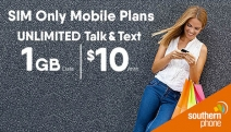 Talk Up a Storm w/ the 4G Southern Phone SIM Plan - One of Oz's Leading Regional Providers! Get Unlimited Talk & Text + 1GB Data for Just $10 a Month