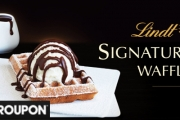 Indulge in the Sweet Feast of Lindt Signature Waffles and Hot Drinks for Two at Lindt Chocolate Café! Incl. 30% Off Retail Products. 3 Locations