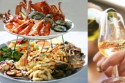 Dine at Multi-Award Winning Aquarius Seafood Restaurant & Enjoy a Mouthwatering Seafood Platter + Bottle of Wine for 2! Two-Tier Fresh Seafood + Sides