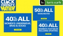 Score a Bargain with Click Frenzy Mayhem at Harris Scarfe! Incl. 50% Off Manchester, 40% Off Women's Apparel & Footwear + More. Hurry Ends Tonight!