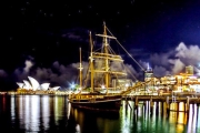 Light Up Your World w/ a 1.5-Hr Vivid Festival Cruise Around Sydney Harbour with Sydney Tallships! Package Incl. Dinner, Drinks & Live Music