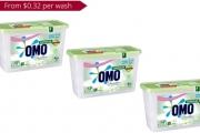 Attack Tough Stains for Less with a 3-Pack of Omo Sensitive Skin Laundry Liquid Capsules for Top & Front Loaders! That's 105 Capsules for Just $39!