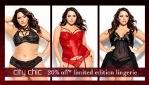 Feel Fun, Flirty & Fabulous w/ 20% Off Limited Edition Plus Size Lingerie & Sleepwear from City Chic! Shop Bustiers, Bodysuits, Nighties & More