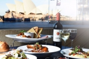Al-Fresco Gourmet Dining for 2 w/ a Bottle of Wine at the Amazing Waterfront Restaurant at The Rocks! Think Grain-Fed Sirloin, Roast Chicken & More