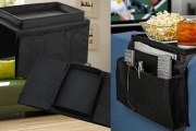 Get Serious About Your Couch Time w/ a Sofa Storage Organiser! Sits on Top of Your Armrest, Ft. Sturdy Snack Tray & 6 Pockets, Ideal for Remotes & More
