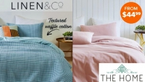 Create Your Dream Bedroom with the Linen & Co Printed & Textured Quilt Cover Sets! From $44.99, Shop a Range of Elegant Styles & Colours in Double-King