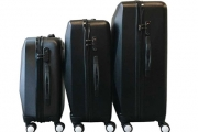 Travel in Style with a Black, 3-Piece Hard Shell Luggage Set! Ft. Four 360-Degree Spinner Wheels & TSA-Certified Locks in the Medium & Large Sizes