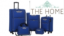 Shop the Perfect Traveling Companion w/ the Lunar 5-Pc Luggage Sets! Ft. Lightweight & Durable Soft Trolley Cases, Carry On + Wetpack in Blue & Black