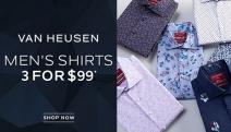 Fellas, Look Sharp in a Suit w/ Van Heusen! Shop Premium Men's Shirts + Stock Up & Save w/ 3 Shirts for $99! Plus P&H. Range of Colours & Prints