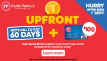 Get the Latest for Your Home w/o Breaking the Bank w/ Radio Rentals! Just $1 Upfront w/ Nothing to Pay for 60 Days! Hurry, Ends 1 September