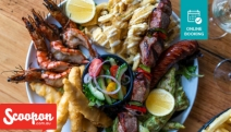 Catch Up w/ Old Pals Over a Mouthwatering Feast of Shared Seafood & Meat Platter + Drinks @ History Cafe Wine Bar & Grill! Grilled King Prawns & More